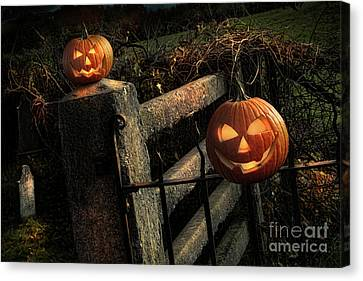 Two Halloween Pumpkins Sitting On Fence Canvas Print by Sandra Cunningham