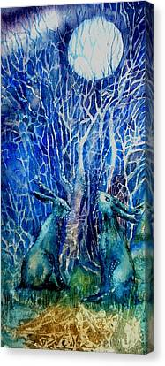 Woman And Owl Canvas Print - Two Hares Contemplate An Owl By Moonlight     by Trudi Doyle