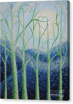 Canvas Print featuring the painting Two Hearts by Holly Carmichael