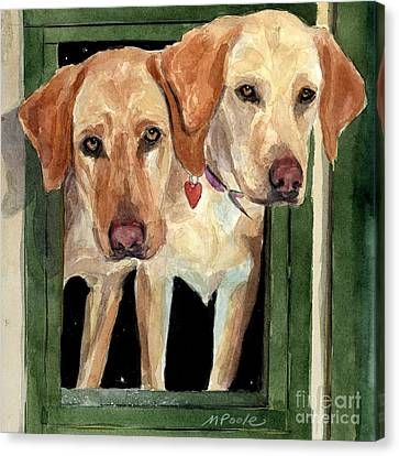 Golden Lab Canvas Print - Two Hearts by Molly Poole