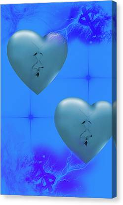 Canvas Print featuring the digital art Two Hearts Together On Valentine's Day  by Angel Jesus De la Fuente