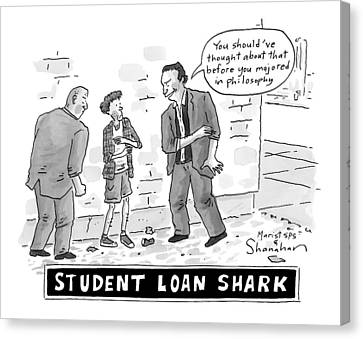 Debt Canvas Print - Two Henchman -- Student Loan Sharks -- Approach by Danny Shanahan