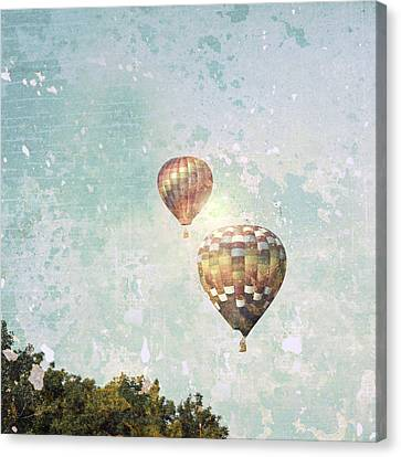 Canvas Print featuring the photograph Two Hot Air Balloons by Brooke T Ryan