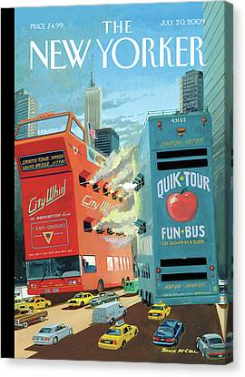 Pirate Ships Canvas Print - Two Huge Double Decker Tourist Buses Shooting by Bruce McCall