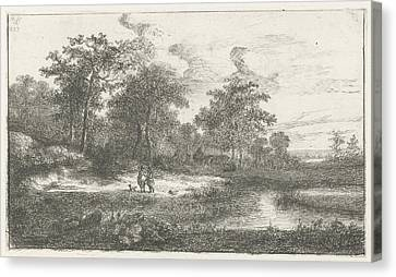 Two Hunters In A Fen, Hermanus Jan Hendrik Van Canvas Print by Hermanus Jan Hendrik Van Rijkelijkhuysen