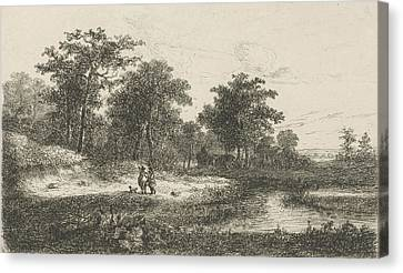 Two Hunters Near A Fen, Print Maker Hermanus Jan Hendrik Canvas Print by Hermanus Jan Hendrik Van Rijkelijkhuysen
