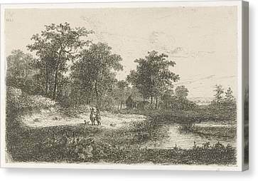 Two Hunters, Print Maker Hermanus Jan Hendrik Van Canvas Print by Hermanus Jan Hendrik Van Rijkelijkhuysen