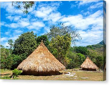 Bamboo House Canvas Print - Two Indigenous Huts by Jess Kraft