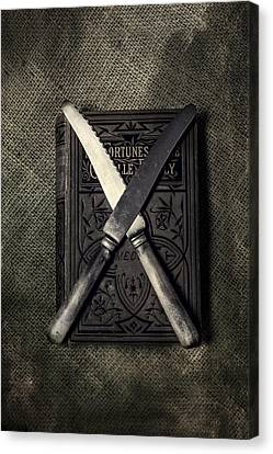 Two Knives And A Book Canvas Print by Joana Kruse