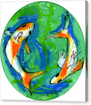 Two Koi Fish Canvas Print by Genevieve Esson