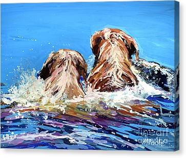 Two Labs One Wake Canvas Print by Molly Poole