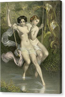 Two Ladies On A Swing Canvas Print by Charles Bargue