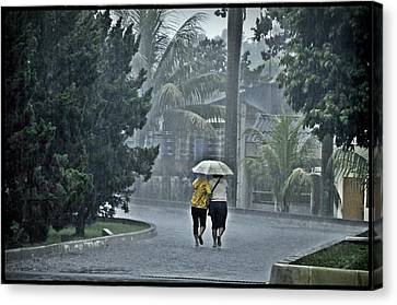 Two Ladies With One Umbrella Canvas Print by Achmad Bachtiar