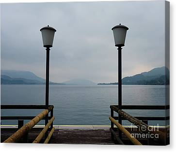Canvas Print featuring the photograph Two Lanterns At The Jetty Pier Of Lake Attersee by Menega Sabidussi