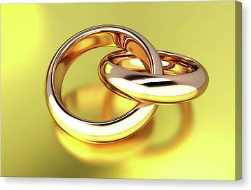 Two Linked Gold Rings Canvas Print by Wladimir Bulgar
