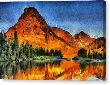 Two Medicine Sunrise - Digital Painting Canvas Print by Mark Kiver