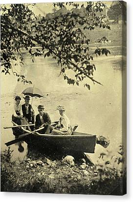 Rowboat Canvas Print - Two Men And Two Women In A Rowboat On A Lake by Artokoloro