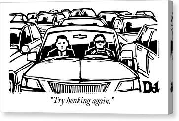 Travel Canvas Print - Two Men In A Car Are Stuck In Traffic by Drew Dernavich