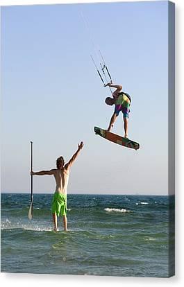 Two Men Off Valdevaqueros Beach Canvas Print by Ben Welsh
