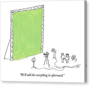 Camera Canvas Print - Two Men Point A Film Camera At A Green Screen by Edward Steed