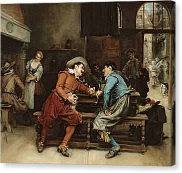 Two Men Talking In A Tavern Canvas Print by Jean Charles Meissonier
