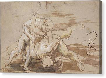 Two Men Wrestling Canvas Print by Peter Paul Rubens