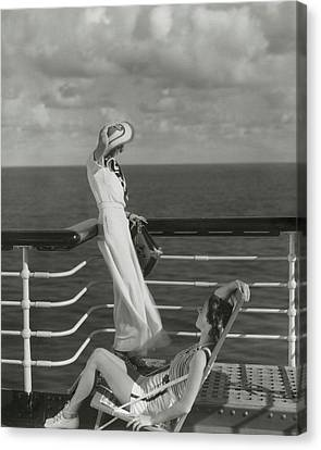 Two Suns Canvas Print - Two Models On The Deck Of A Cruise Ship by Edward Steichen