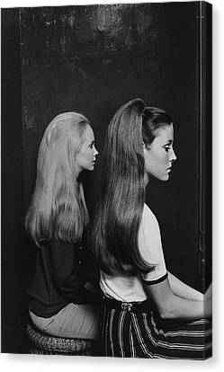 1960s Hairstyles Canvas Print - Two Models Wearing Hairpieces by Ted Hardin