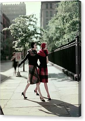 Full Skirt Canvas Print - Two Models Wearing Plaid Mohair Skirts And Stoles by Sante Forlano