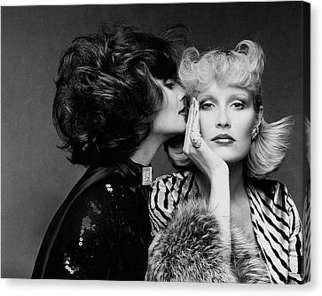 Hairstyle Canvas Print - Two Models Wearing Wigs By Edith Imre by Francesco Scavullo