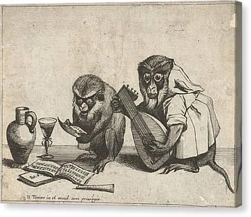 Two Monkeys Making Music, Quirin Boel, David Teniers II Canvas Print
