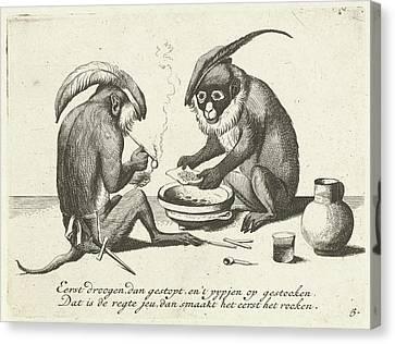Two Monkeys Smoking A Pipe, Quirin Boel, David Teniers II Canvas Print