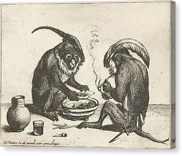 Two Monkeys Smoking Pipe, Quirin Boel, David Teniers II Canvas Print