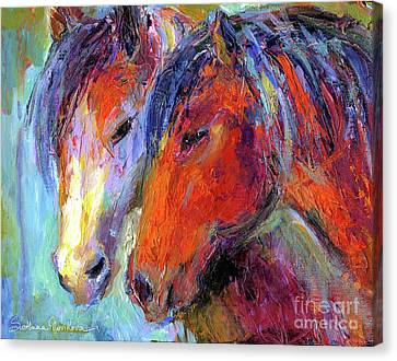 Two Mustang Horses Painting Canvas Print by Svetlana Novikova