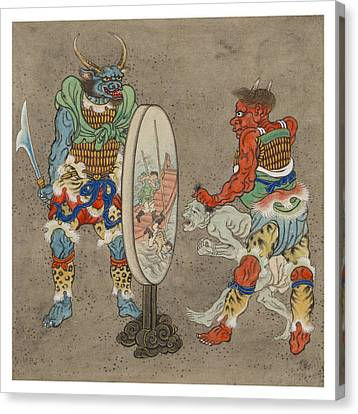 Religious Icon Canvas Print - Two Mythological Buddhist Or Hindu Figures Circa 1878 by Aged Pixel