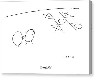 Game Canvas Print - Two O-characters Stand By A Game Of Tic-tac-toe by Liana Finck