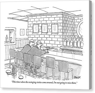 Old Canvas Print - Two Older Men Are Sitting An An Empty Bar Talking by Jack Ziegler