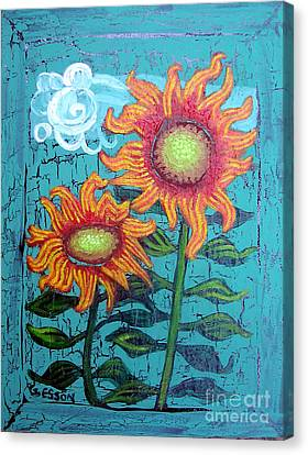 Two Orange Sunflowers Canvas Print by Genevieve Esson