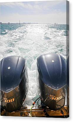 Two Outboard Engines Canvas Print by Photostock-israel