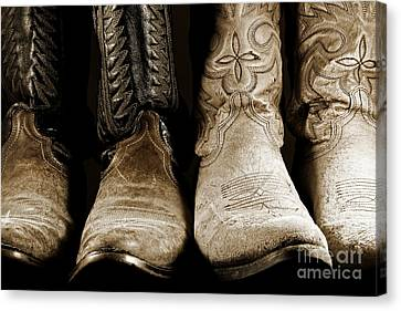Two Pair Of Cowboy Boots Are Better Than One Canvas Print by Lincoln Rogers
