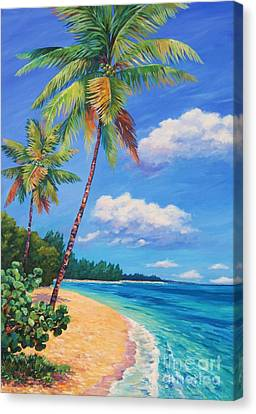 Two Palms In Paradise Canvas Print by John Clark