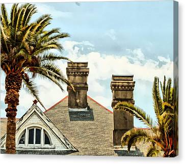 Two Palms Two Chimneys And Gable Canvas Print by James Stough