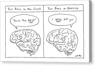 Brain Canvas Print - Two Panels: Your Brain On The Couch Brain Saying by Kim Warp