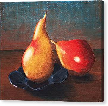 Two Pears Canvas Print by Anastasiya Malakhova