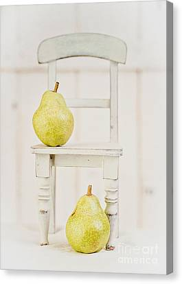 Two Pears And A Chair Still Life Canvas Print by Edward Fielding