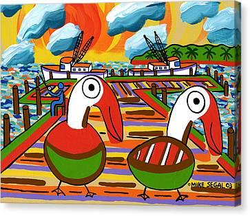 Two Pelicans On The Pier-cedar Key Canvas Print