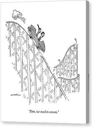 Two People Ride A Roller Coaster Canvas Print