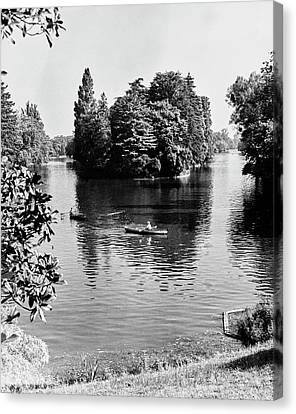 Two People Rowing At Bois Du Boulogne Park Canvas Print by Erwin Blumenfeld