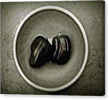 Two Peppers In A Bowl Canvas Print by Patricia Strand