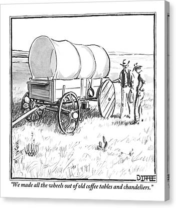 Two Pioneers Discuss The Wheels Of Their Wagon Canvas Print by Matthew Diffee